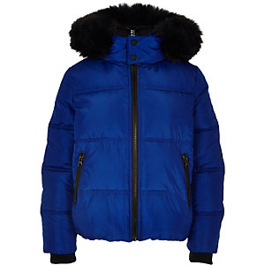 Boys blue faux fur hooded puffer jacket