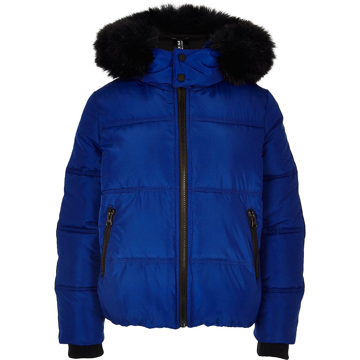 Boys blue faux fur hooded puffer jacket