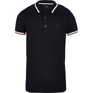 Boys navy pique polo shirt