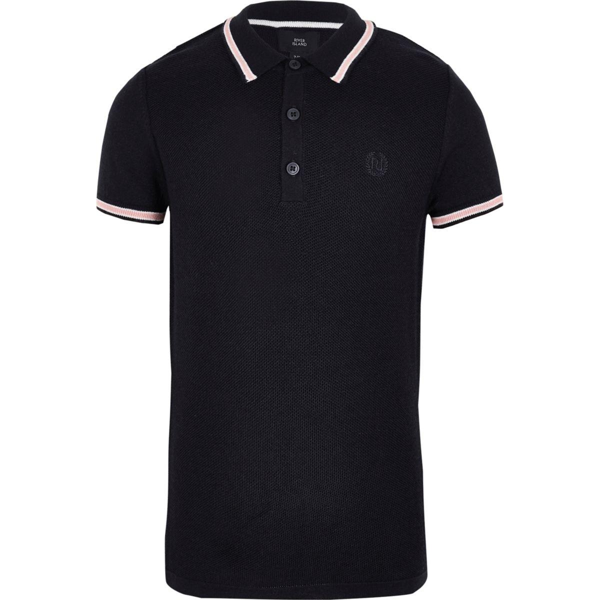 Boys navy pique polo shirt