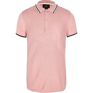 Boys pink pique polo shirt