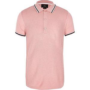 Polo en piqué rose pour garçon