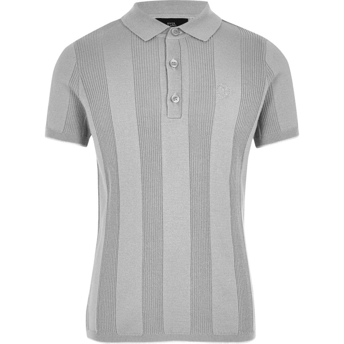 Boys RI grey wide ribbed polo shirt