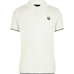 Boys RI white wide ribbed polo shirt