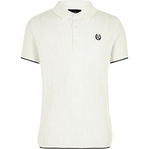 Boys RI white wide ribbed polo shirt