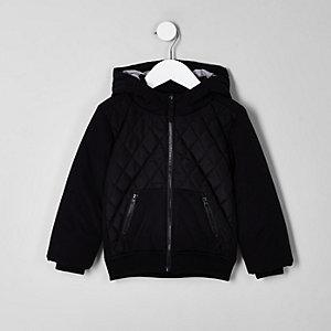 Mini - Zwart gewatteerd jack met ruitvormige stiksels voor jongens