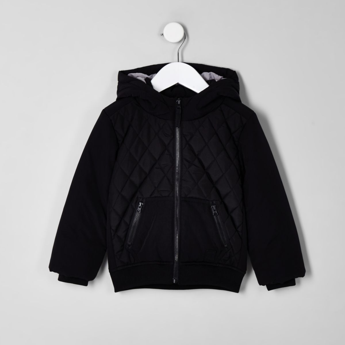 Mini boys black diamond quilted puffer jacket