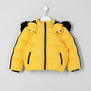 Mini boys yellow faux fur hood puffer coat