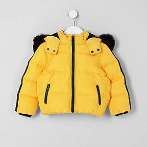 Mini - Gele gewatteerde jas met capuchon van imitatiebont voor jongens
