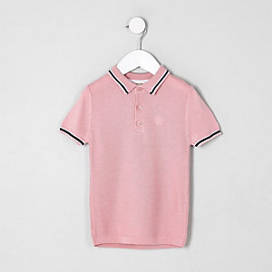 Mini boys pink pique polo shirt