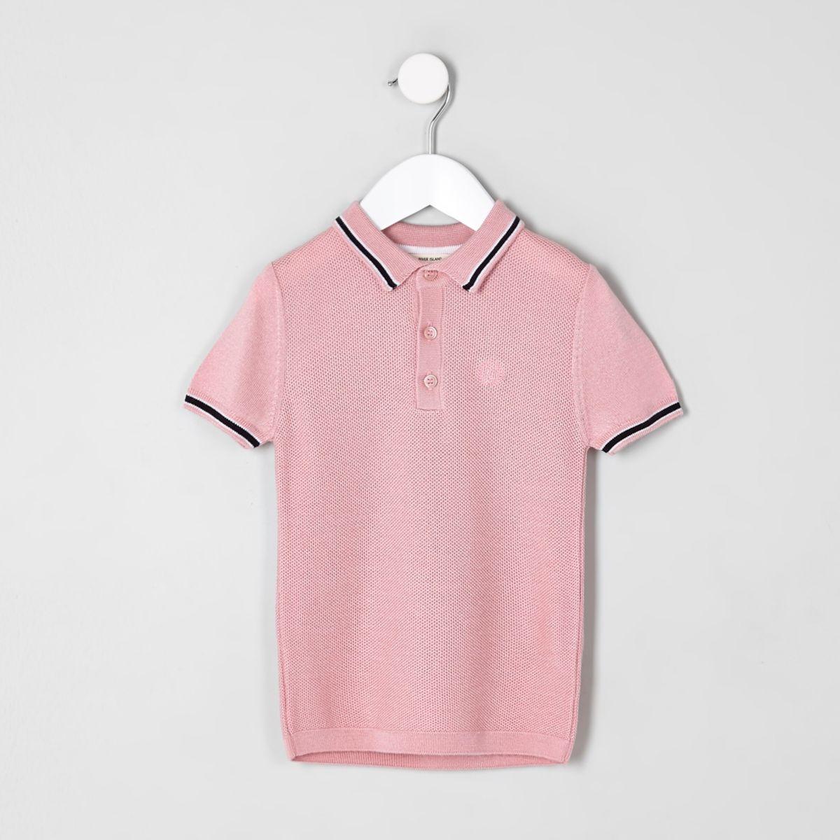 Mini boys pink pique polo shirt