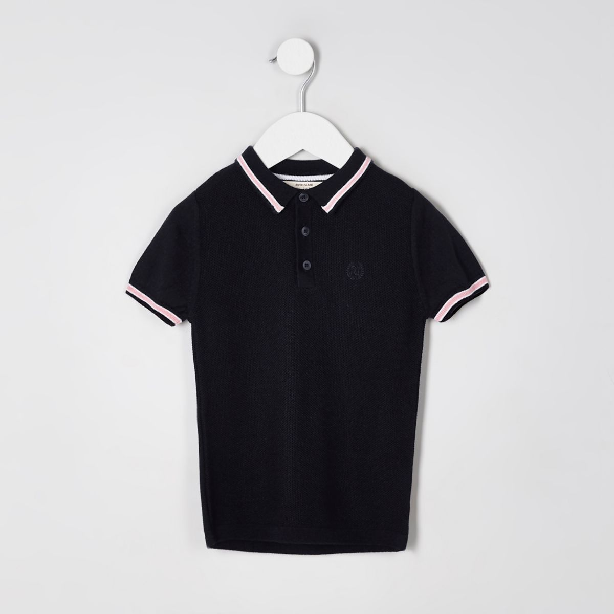Mini boys navy short sleeve pique polo shirt