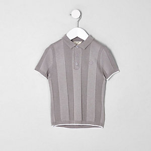 Mini boys RI grey wide ribbed polo shirt