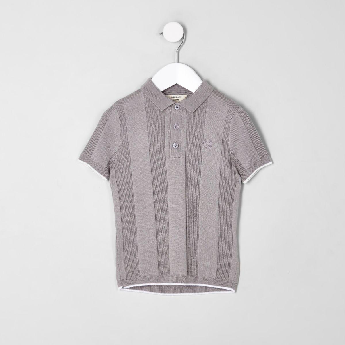 Mini boys RI grey wide ribbed polo shirt