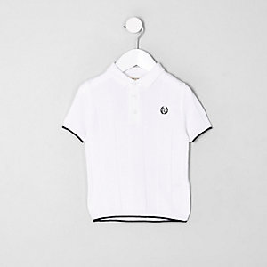 Mini - Wit RI-poloshirt met brede ribbels voor jongens