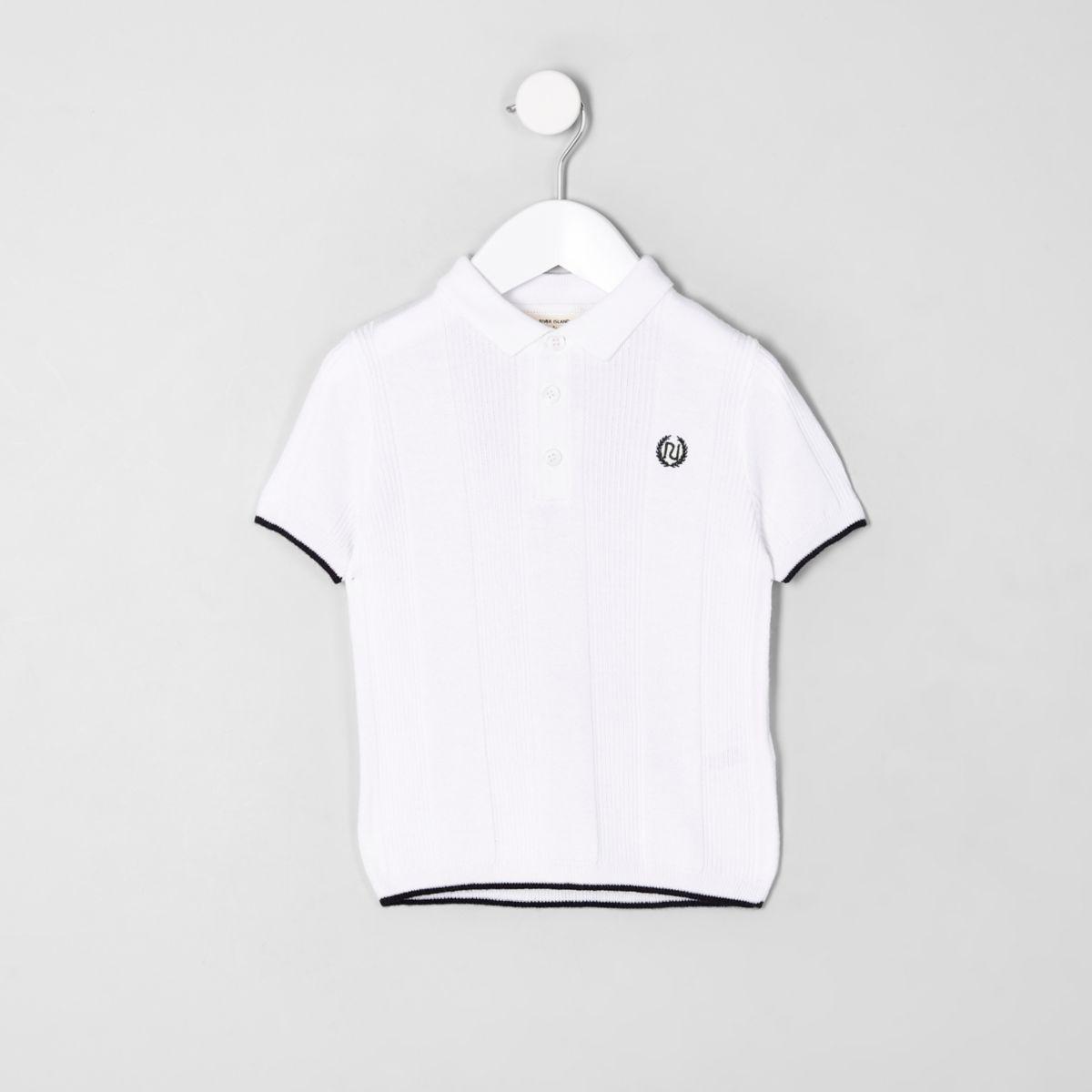 Mini boys RI white wide ribbed polo shirt