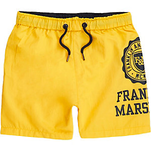 Boys yellow Franklin & Marshall swim trunks
