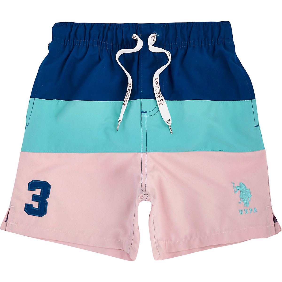 U.S. Polo Assn. – Short de bain rose colour block pour garçon