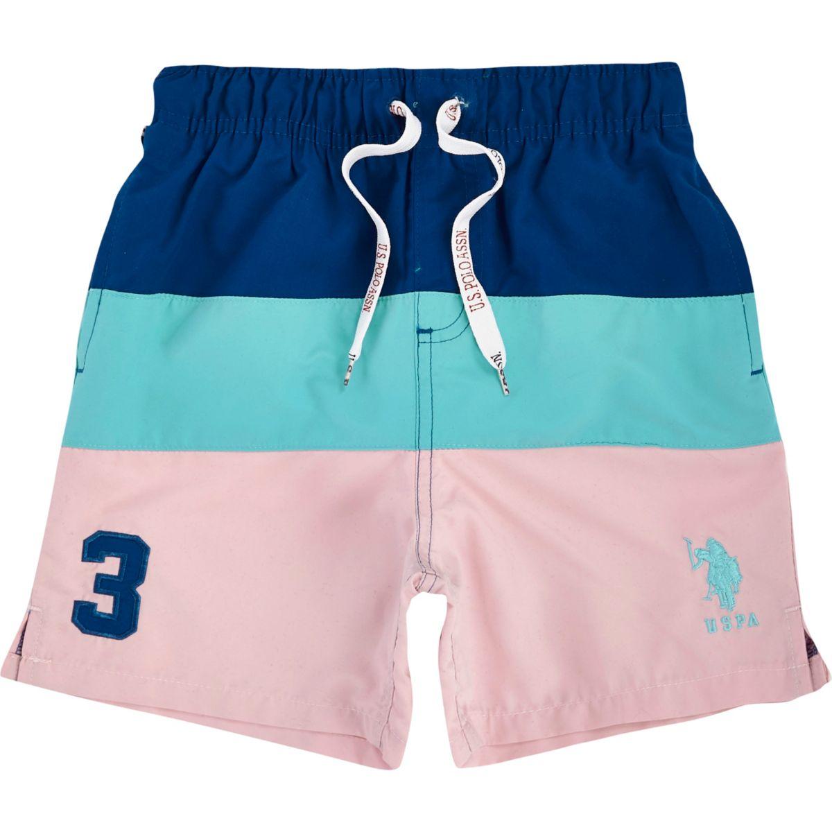 Boys pink U.S. Polo Assn. blocked swim trunks
