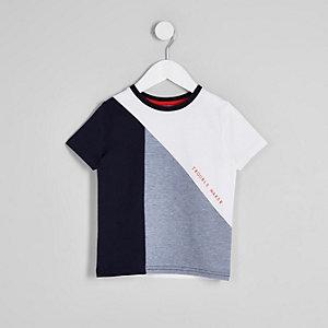 Mini - Blauw T-shirt met 'trouble maker'-print voor jongens