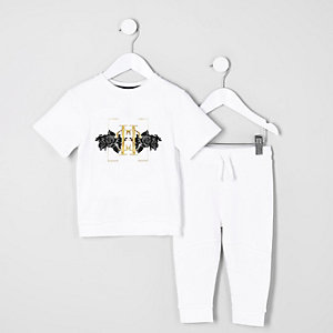 Mini boys white short sleeve sweat outfit
