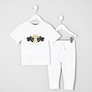 Mini - Outfit met witte sweater met korte mouwen voor jongens