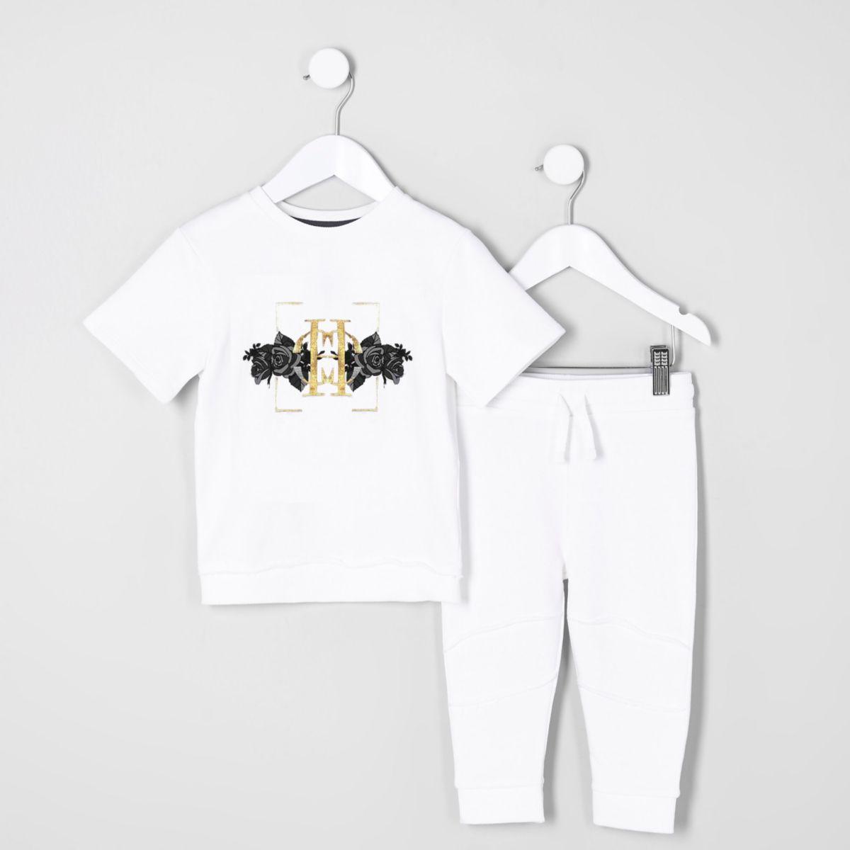 Mini boys white short sleeve sweat outfit