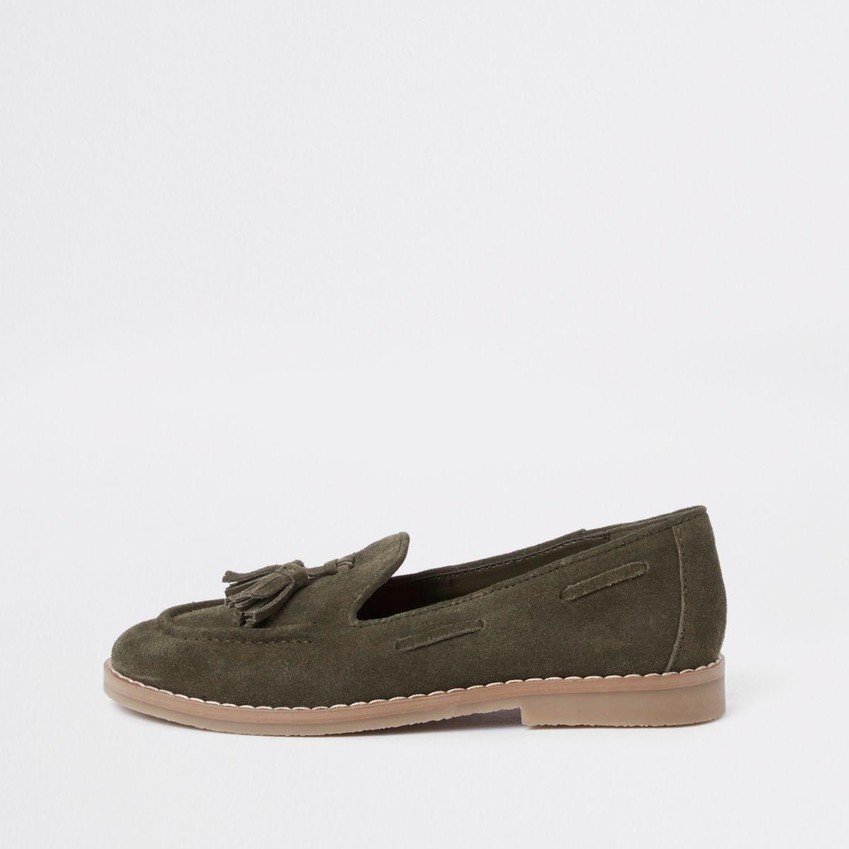 Boys khaki tassel loafers