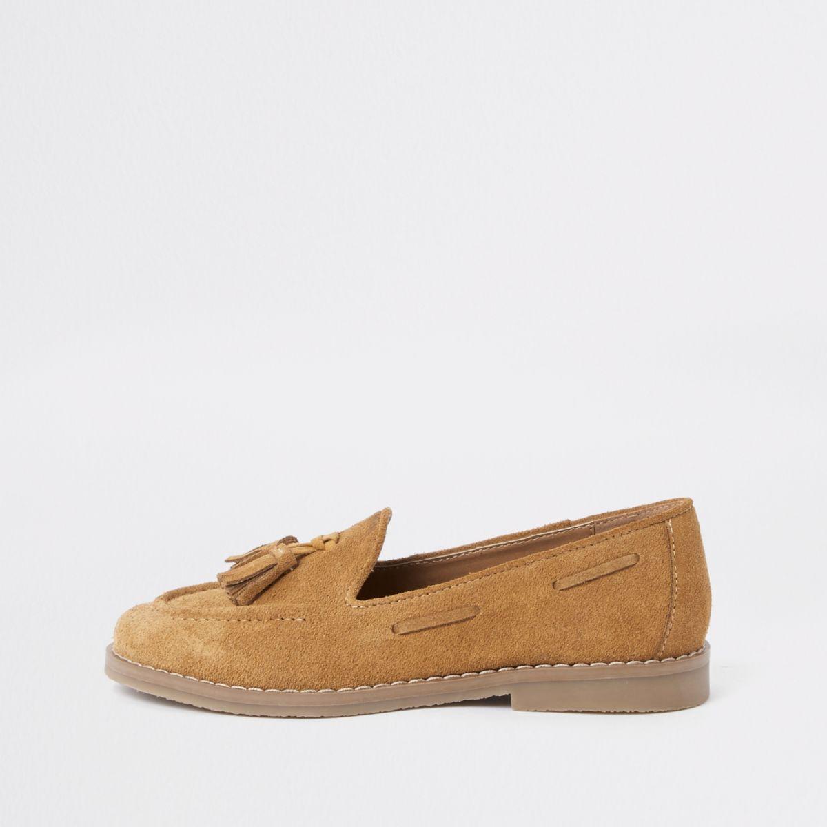 Boys light brown tassel loafers