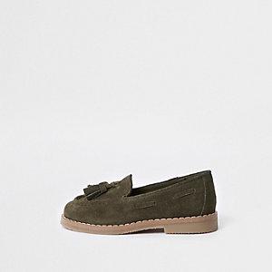 Mini - Kaki loafers met kwastjes voor jongens