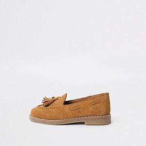 Mini - Lichtbruine loafers met kwastjes voor jongens