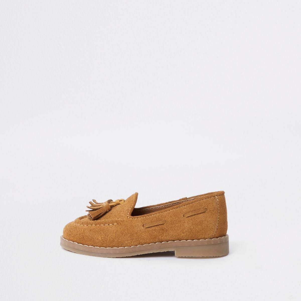 Mini boys light brown tassel loafers
