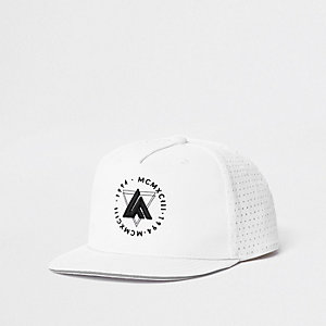 Boys white 'LA' embroidery flat cap