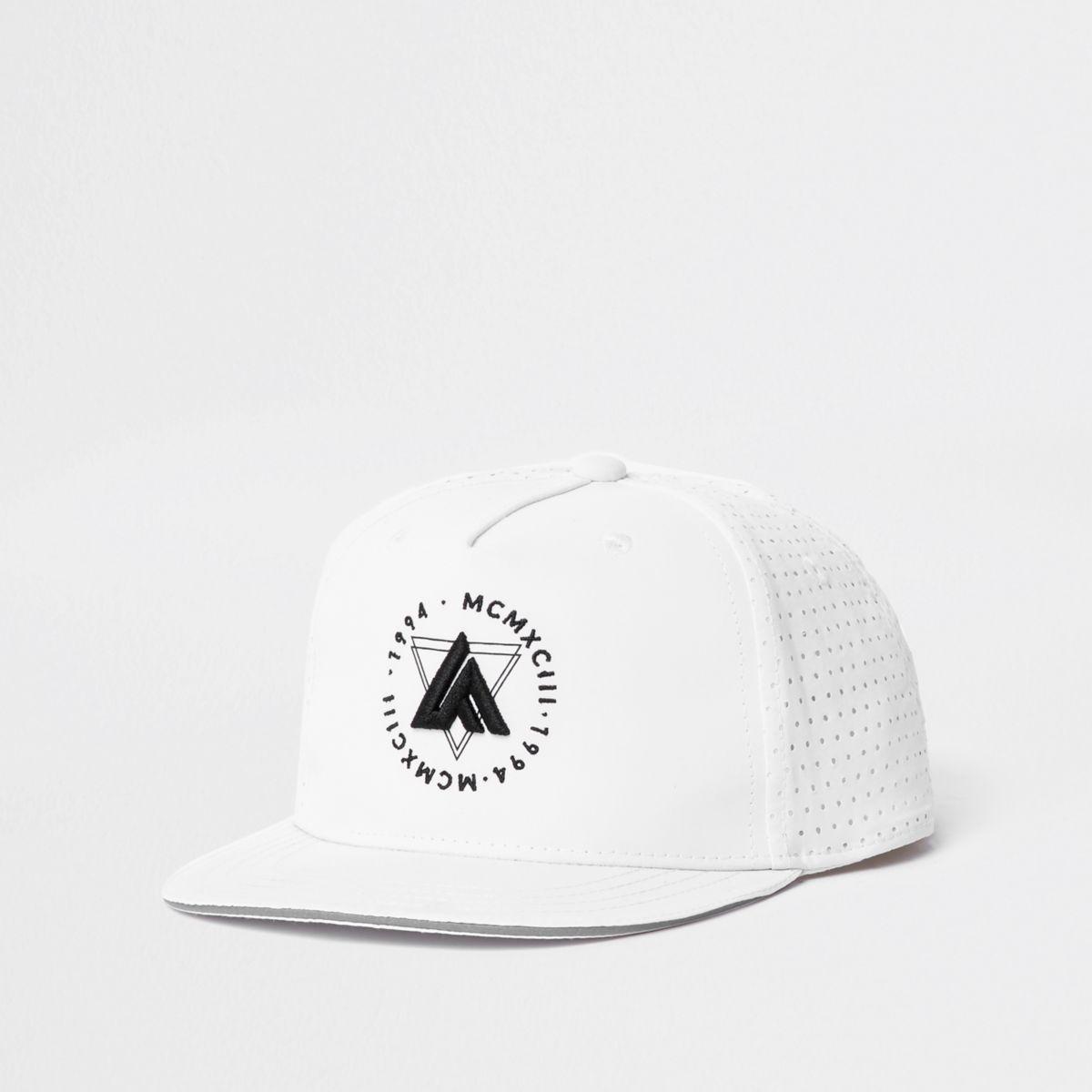 Boys white 'LA' embroidery flat cap