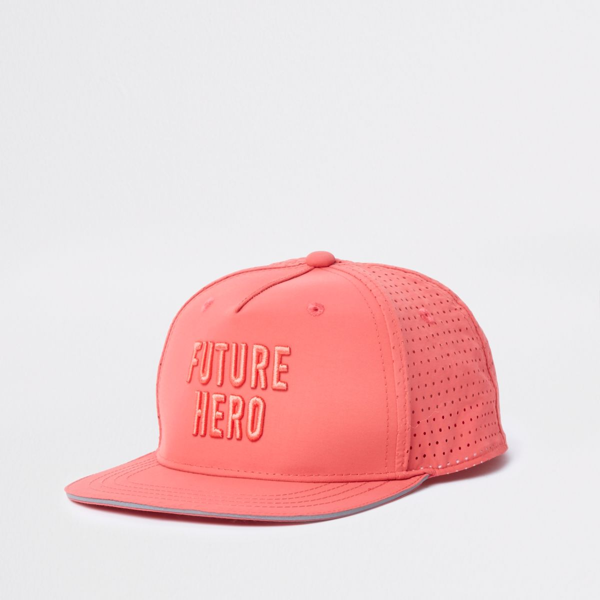 Boys coral 'future hero' embroidery flat cap
