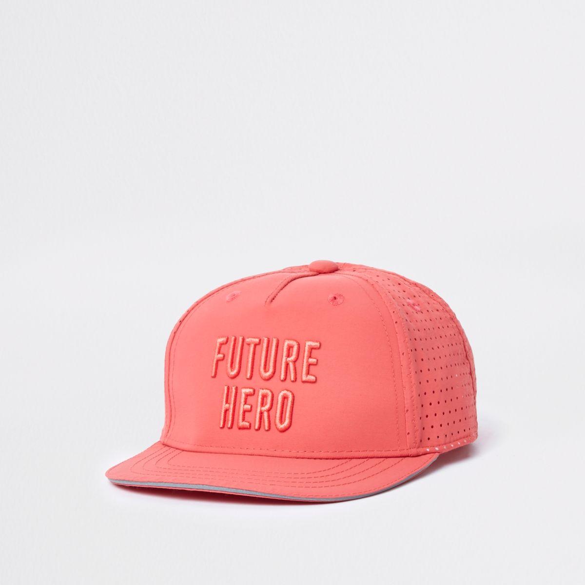 Mini boys coral 'future hero'  flat cap
