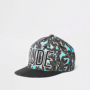 Mini boys blue tropical flat peak cap