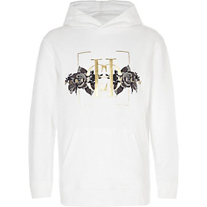 Boys white 'Paris Milan' rose print hoodie