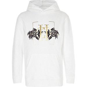 Witte hoodie met 'Paris Milan'- en rozenprint voor jongens