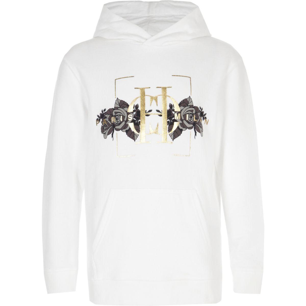 Boys white 'Paris Milan' rose print hoodie