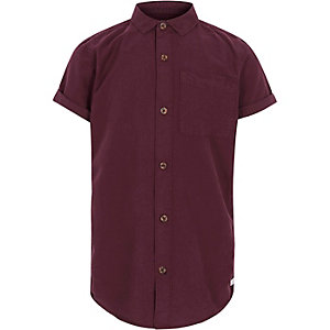 Boys plum red short sleeve Oxford shirt