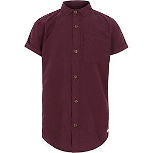 Paarsrood oxford overhemd met korte mouwen voor jongens