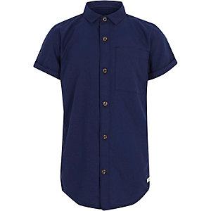 Marineblaues Oxford-Hemd mit kurzen Ärmeln