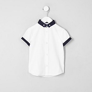Mini boys white short sleeve smart shirt