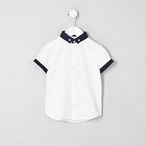 Mini - Wit net overhemd met korte mouwen voor jongens