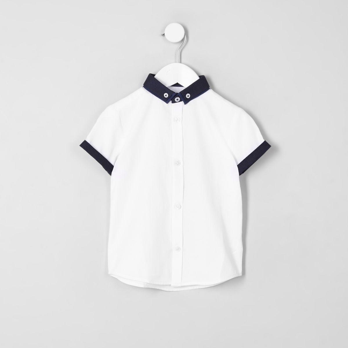 Mini boys white short sleeve smart shirt