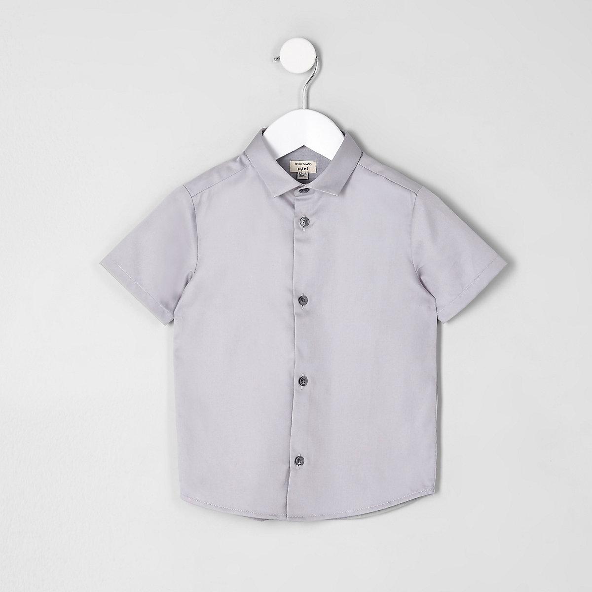 Mini boys grey short sleeve shirt