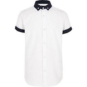 Wit gemêleerd overhemd met korte mouwen voor jongens