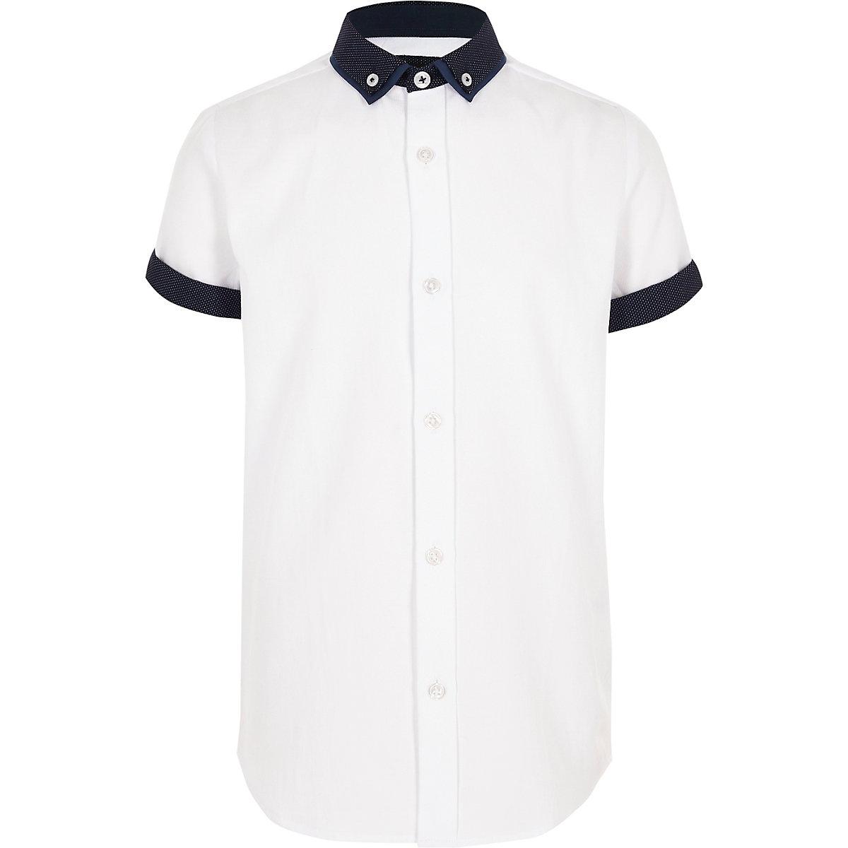Boys white short sleeve smart shirt