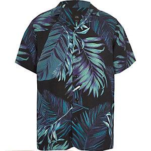 Marineblauw overhemd met korte mouwen en bladerprint voor jongens